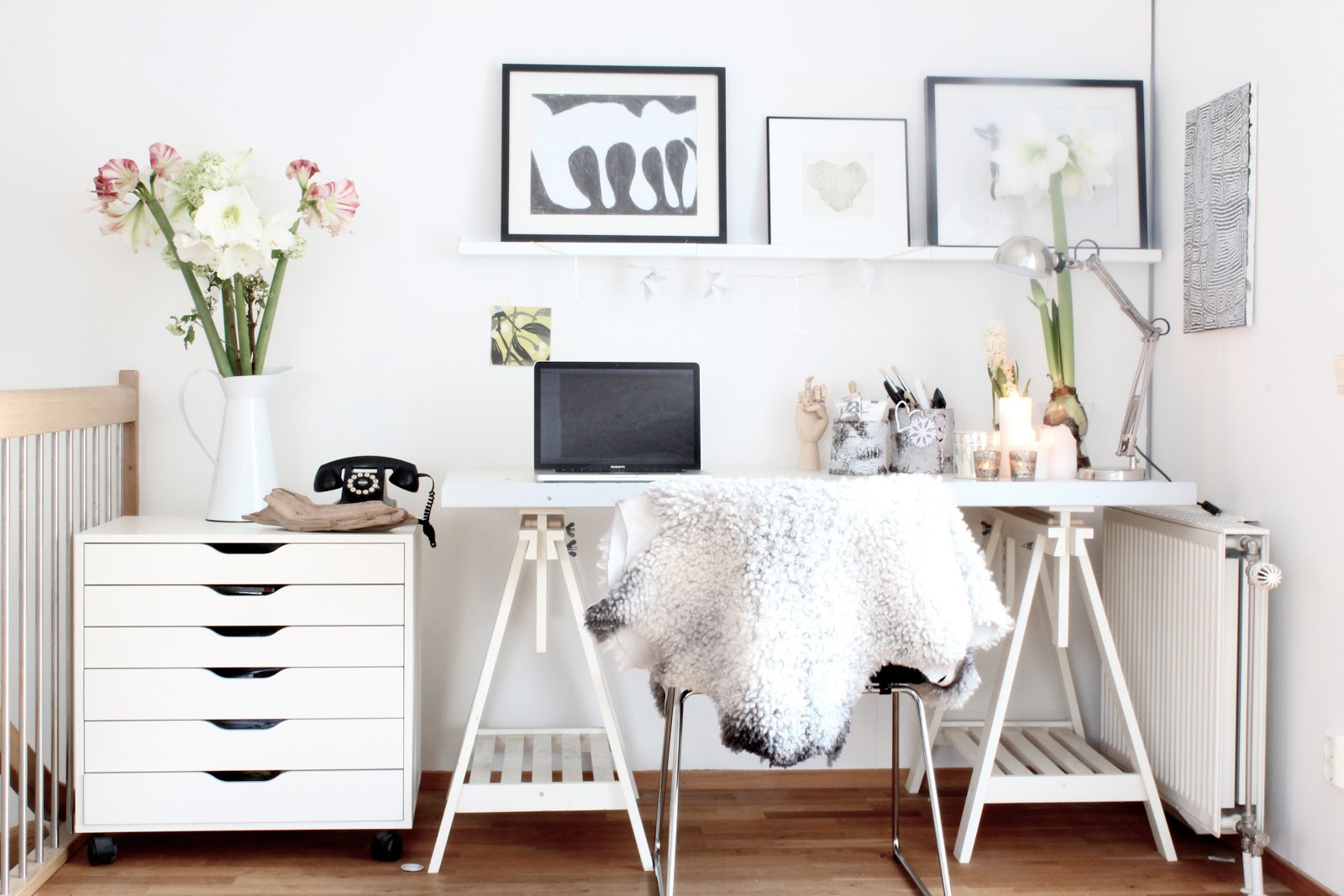 Breathtaking Workspace Decorating Ideas Implemented Inside Neutral Colored Office Space Which Has White Desk Drawers In One Side Next To Twin Table