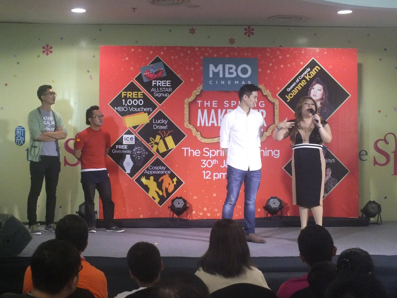 MBO Spring Makeover_Comedian Joanne Kam Poh Poh entertaining the crowd at the festivities