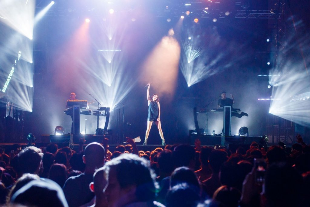 Chvrches, a Tiger Jams collaborator, performed for fans during at Tiger Jams Centerstage held on Sept 2 at Rhapsody Square, TREC KL