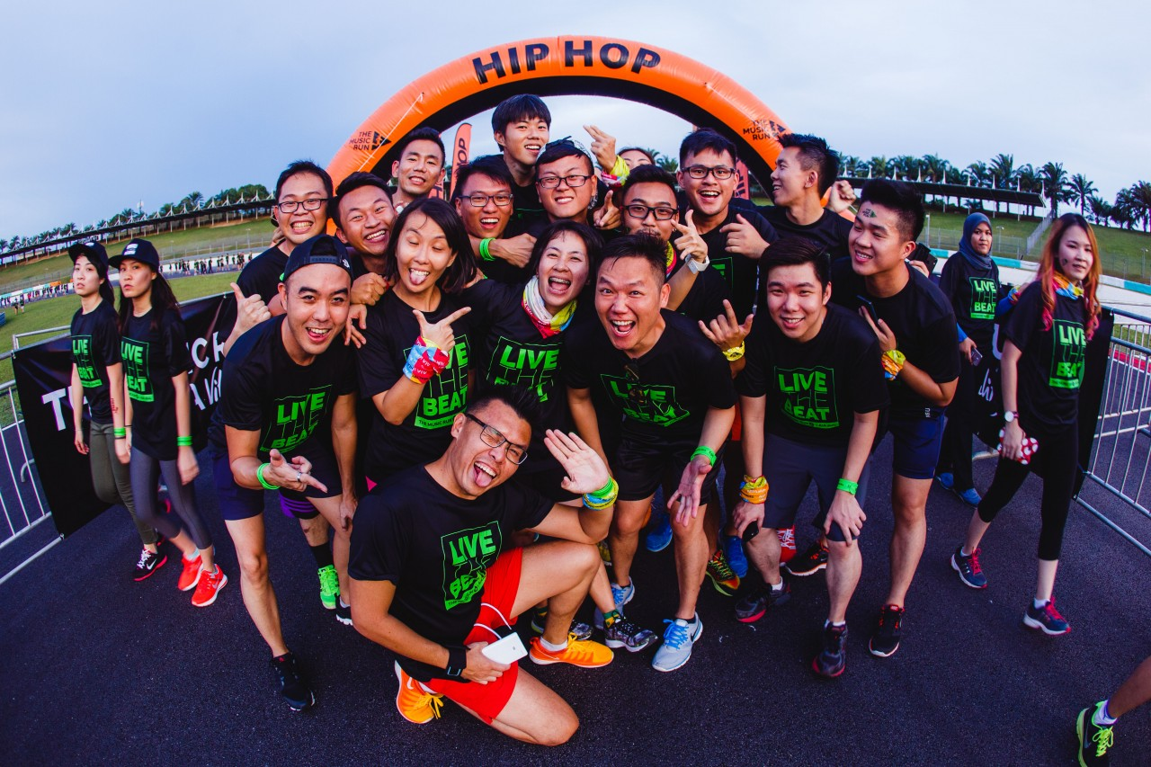 Music RunnersTM having fun on the Sound Track lined with over 120 speakers pumping out the most popular songs across 5 Music Zones - Rock, Pop, Old School, Hip Hop and Dance (3)