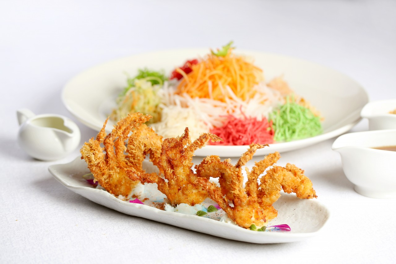 Soft shell crab with wasabi sauce yee sang, part of the Chinese New Year yee sang offering in Tao Chinese Cuisine.
