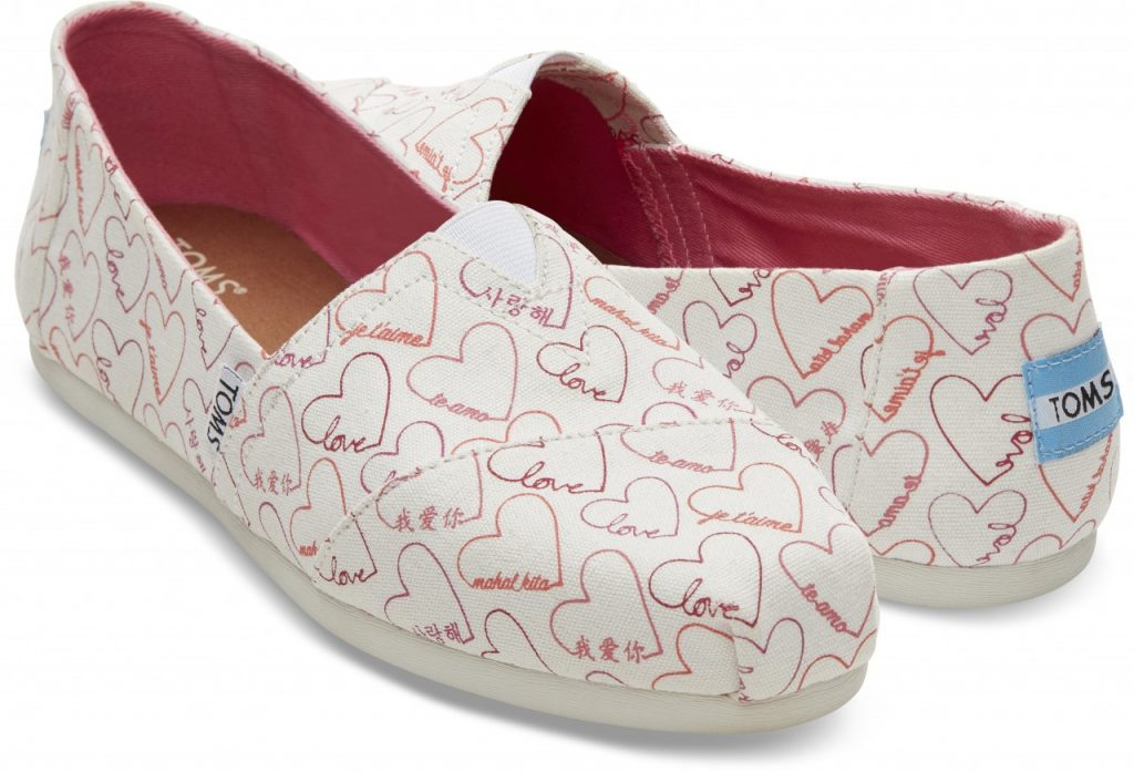 TOMS Pink Love Languages Women's Classics pair