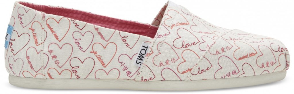 TOMS Pink Love Languages Women's Classics side