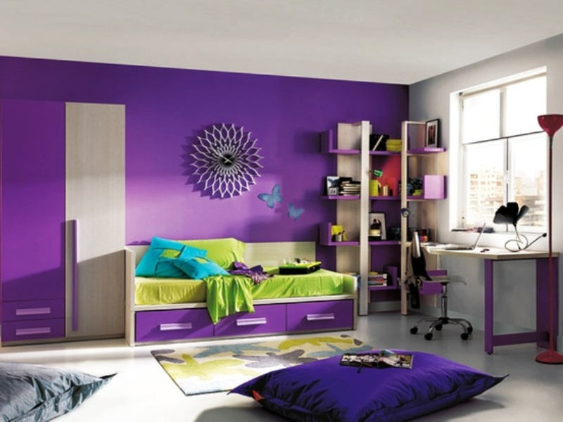 lovely purple bedroom ideas kids room   children-bedroom-purple-interior-with-study-space-and ...
